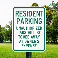 Resident Parking Unauthorized Cars Towed Signs