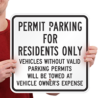 Permit Parking Residents only Vehicles Towed Signs