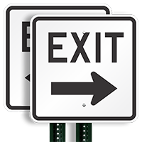 Exit (right arrow) Aluminum Parking Signs