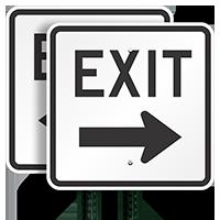 Exit (right arrow) Aluminum Parking Signs