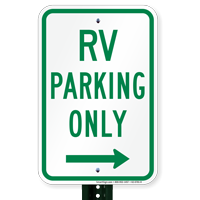 RV Parking At Right, Reserved Parking Signs