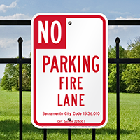 Sacramento No Parking Fire Lane Signs