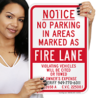 Orange County Notice No Parking Fire Lane Signs