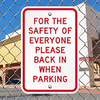 Please Back In When Parking Signs