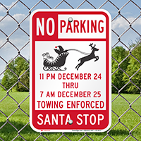 Santa Stop No Parking Signs