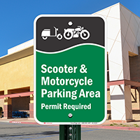 Scooter And Motorcycle Parking Area Permit Required Signs