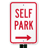 Self Park Signs with Right Arrow