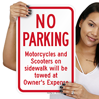 No Parking Motorcycles And Scooters On Sidewalk Signs