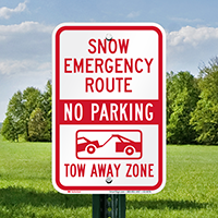 Snow Emergency Route, Tow-Away Zone Signs