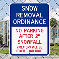 Snow Removal Ordinance Signs
