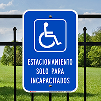 Spanish Parking Only For Disabled Signs with Symbol