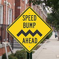 Speed Bump Ahead (With Graphic) Signs