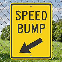 Speed Bump Sign with Down Arrow Pointing Left
