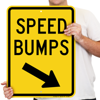 Speed Bumps Diagonally Right Arrow Sign