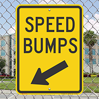 Speed Bumps Diagonally Left Arrow Sign