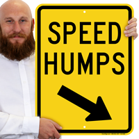 Speed Humps Signs with Down Arrow Pointing Right