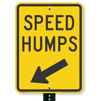 Speed Humps Signs with Down Arrow Pointing Left