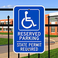 Reserved Parking State Permit Required ADA Signs