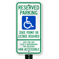 South Dakota Reserved Parking, Van Accessible Signs