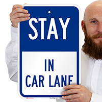 Stay in Car Lane Pick-Up Drop-Off Signs