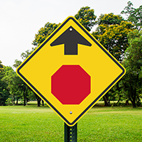 Stop Symbol and Arrow Pointing Up Aluminum Signs