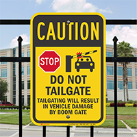 Stop Tailgating Result In Vehicle Damage Sign