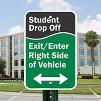 Student Drop Off Signs, Bidirectional Arrow