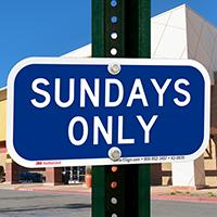 Sundays Only Supplemental Parking Sign