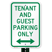 Tenant-Guest Parking Only, Bidirectional Arrow Signs