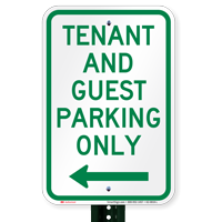 Tenant-Guest Parking Only, Left Arrow Signs