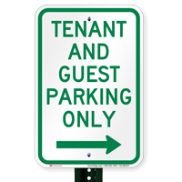 Tenant-Guest Parking Only, Right Arrow Signs