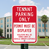Tenant Parking, Display Permit, Reserved Parking Signs