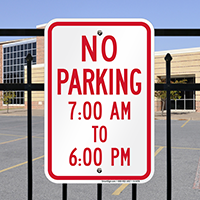 No Parking, 7:00 AM To 6:00 PM Signs