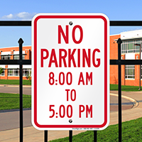 No Parking, 8:00 AM To 5:00 PM Signs
