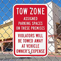 Tow Zone, AsSignsed Parking Spaces On Premises Signs