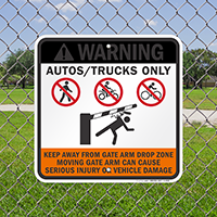 Gate Warning, Autos and Trucks only Signs