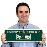 Unauthorized Vehicle Towed Away Supplemental Parking Sign