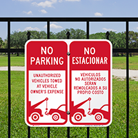 No Parking Unauthorized Towed Owners Expense Bilingual Signs