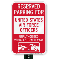 Reserved Parking United States Air Force Officers Signs