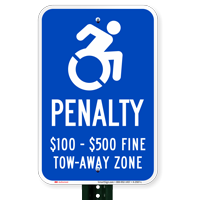Tow Away Zone Handicapped Parking ISA Signs