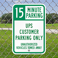 UPS Customer Parking Only Signs