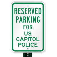 Parking Space Reserved For US Capitol Police Signs