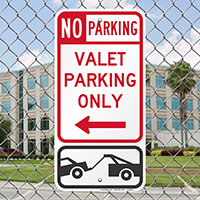 Valet Parking Only Signs with Left Arrow