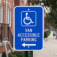 Van Accessible Parking Signs (with Left Arrow)