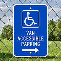 Van Accessible Parking Signs (with Right Arrow)