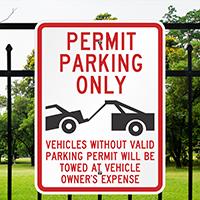 Aluminum Parking Permit Sign (tow truck Symbol)