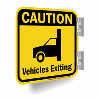 Caution Vehicles Exiting Signs with Graphic