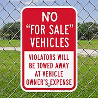 No - For Sale Vehicles, Violators Towed Signs