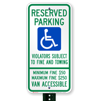 Pennsylvania Reserved Parking, Van Accessible Signs