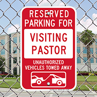 Reserved Parking For Visiting Pastor Signs